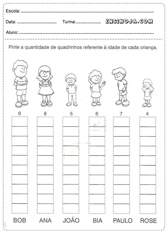 Pinte a quantidade de quadrinhos referente à idade de cada criança