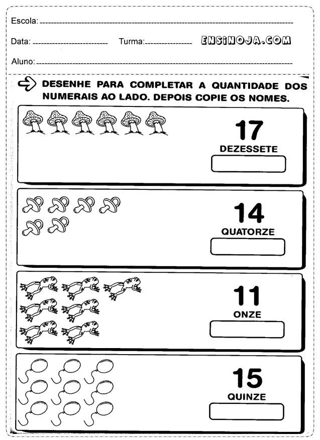 Desenhe para completar a quantidade dos numerais