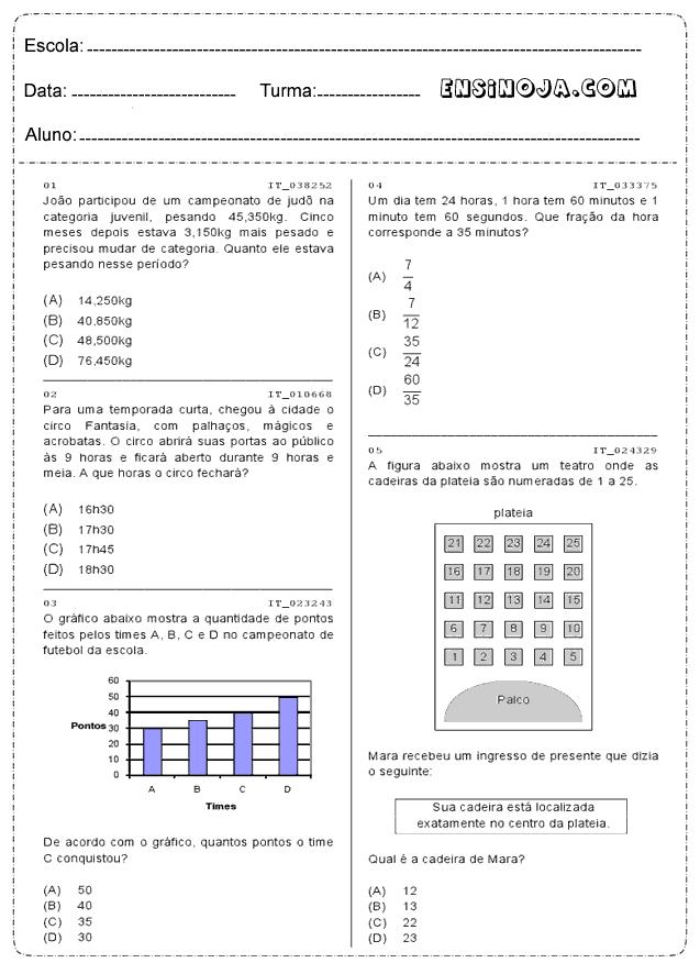 Atividades de Responda para matemática