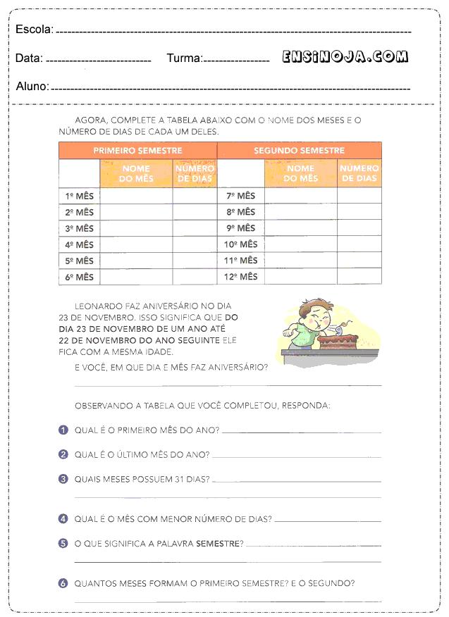 Complete a tabela com o nome dos meses e o número dos meses de cada um deles