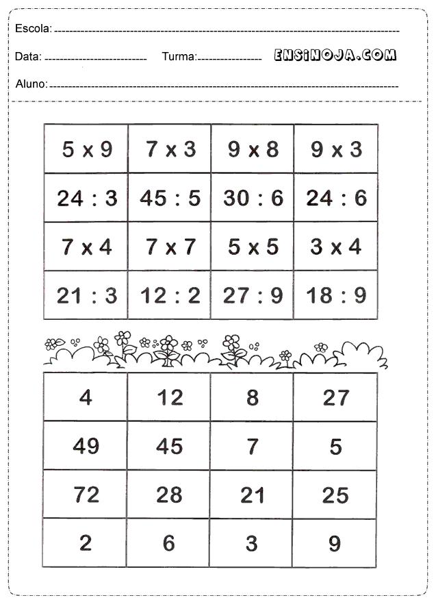Muitas vezes Atividades de matemática 3° ano fundamental multiplicação e  CS46