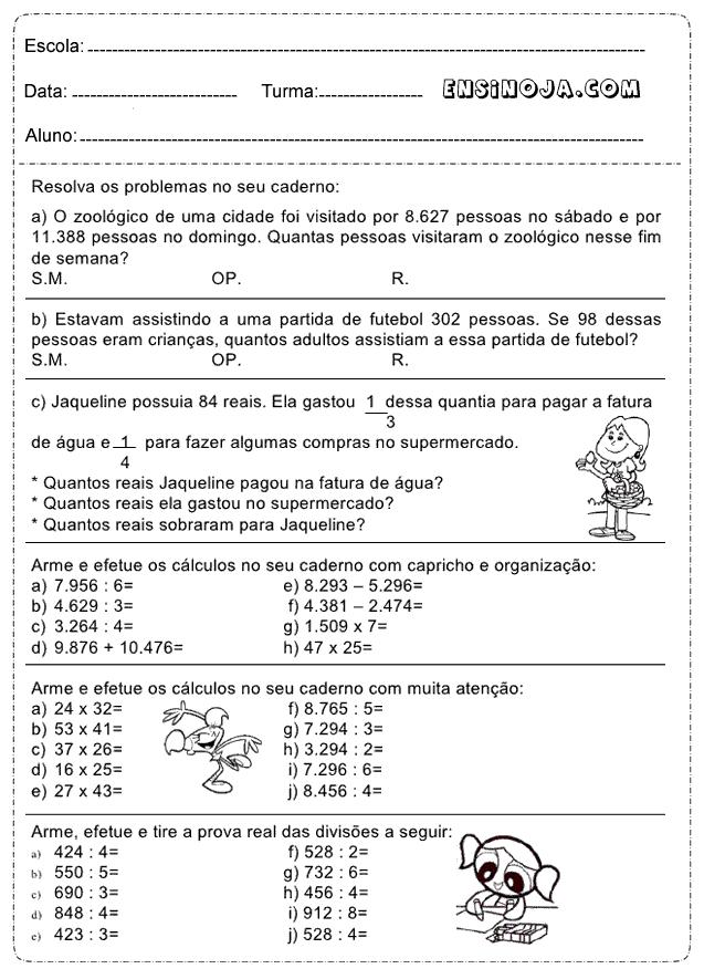 Resolva os problemas de matemática