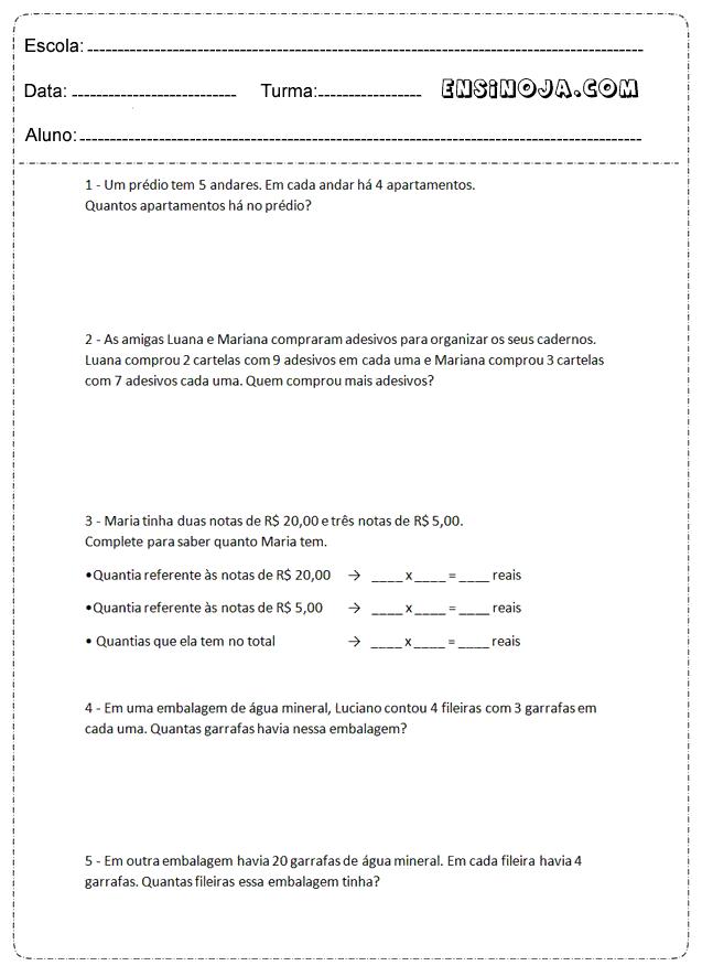 atividades de matemática, problemas para resolver