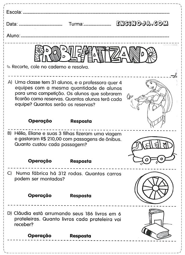 Exercícios de matemática 4° ano fundamental