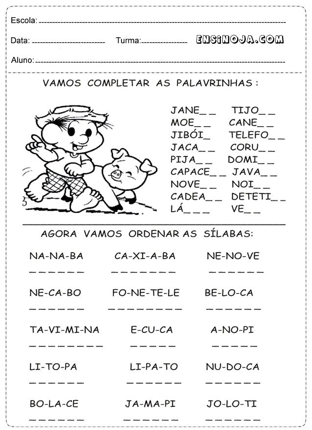 Excepcional Atividades de portugues 1 ano do ensino fundamental - Ensino Já NS82