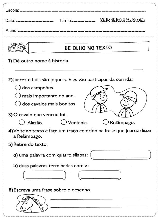 Conhecido atividades-interpretacao-de-texto-3-ano-4 - Ensino Já YR27