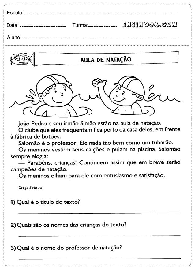 Interpretação de texto natação