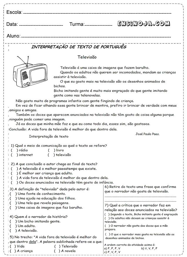 4° ano para imprimir interpretação de texto