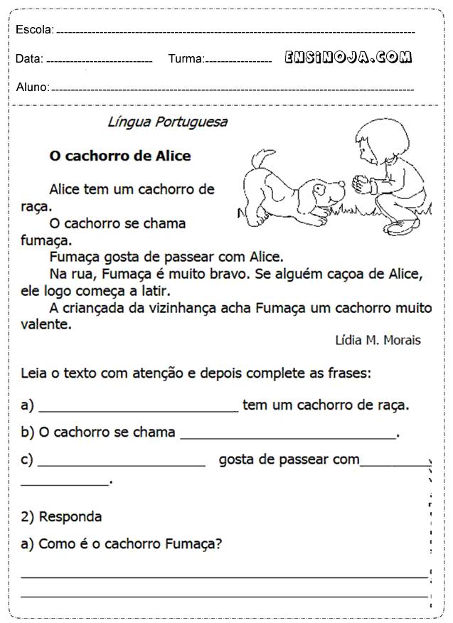 Atividades de interpretação de texto para o 1° ano