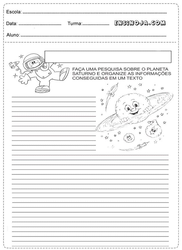 Faça uma pesquisa sobre o planeta Saturno