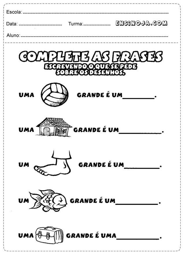 Atividades De Formação De Frases Para Alfabetização Zs64 Ivango