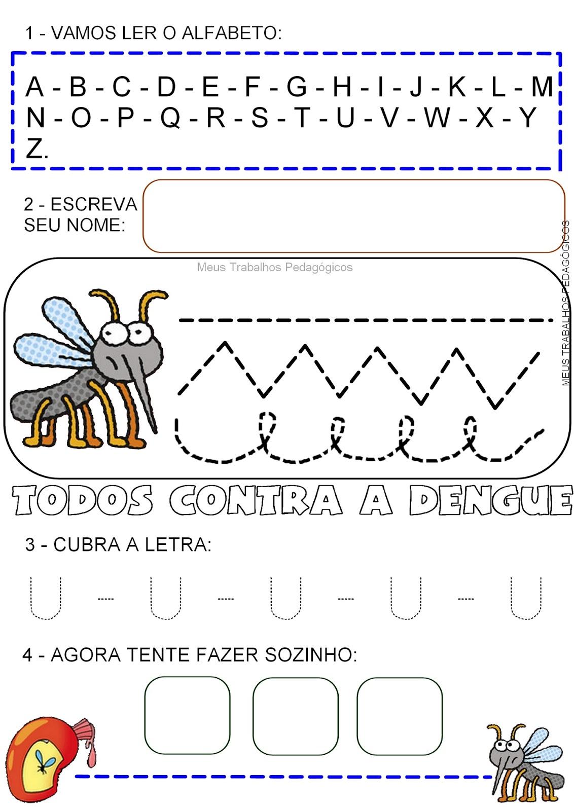 Preferência Atividade Dengue - Pontilhado Alfabeto U - Ensino Já OI42