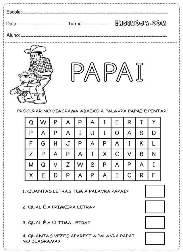Atividades para alunos da educação infantil